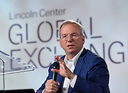 Eric Schmidt, Executive Chairman, Alphabet Inc., speaks at the inaugural Lincoln Center Global Exchange, Friday, Sept. 18, 2015 in New York. The event brought together 250 international thought leaders and change agents from business, government, education, media, science and the arts focused on advancing arts and culture as an engine for innovation and progress. <br /> (Photo by Diane Bondareff/Invision for Lincoln Center Global Exchange/AP Images)