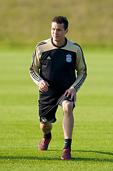 LIVERPOOL, ENGLAND - Monday, November 3, 2008: Liverpool's Philipp Degen during training at Melwood ahead of the UEFA Champions League Group D match against Club Atletico de Madrid. (Photo by David Rawcliffe/Propaganda)