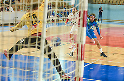 Dean Bombac of Slovenia and Vladimir Cupara of Serbia during friendly handball match between Slovenia and Srbija, on October 27th, 2019 in Športna dvorana Lukna, Maribor, Slovenia. Photo by Milos Vujinovic / Sportida