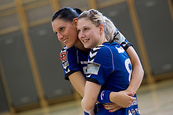 Alja Koren and Tamara Mavsar of Krim celebrate after the last game of 1st A Slovenian Women Handball League season 2011/12 between ZRK Krka and RK Krim Mercator, on May 8, 2012 in Stopice at Novo mesto, Slovenia. RK Krim Mercator became Slovenian National Champion, GEN-I Zagorje placed second and ZRK Krka placed third. (Photo by Vid Ponikvar / Sportida.com)