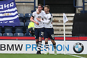 Preston North End defender Paul Huntington (23) scores a goal 1-0 and celebrates  during the EFL Sky Bet Championship match between Preston North End and Brighton and Hove Albion at Deepdale, Preston, England on 14 January 2017.