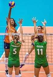 27-08-2017 NED: World Qualifications Bulgaria - Netherlands, Rotterdam<br /> De Nederlandse volleybalsters hebben in Rotterdam het kwalificatietoernooi voor het WK van volgend jaar in Japan ongeslagen afgesloten. Oranje was in z'n laatste wedstrijd met 3-0 te sterk voor Bulgarije: 25-21, 25-17, 25-23. / Celeste Plak #4 of Netherlands