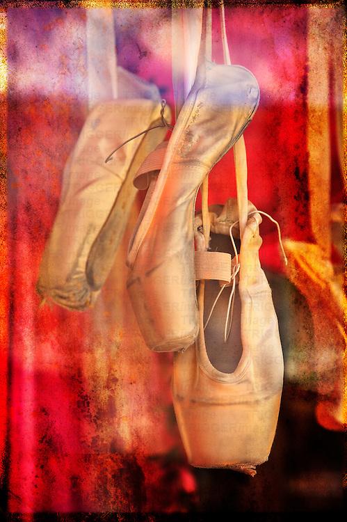 Hanging ballet shoes..