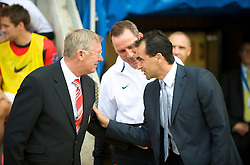 WIGAN, ENGLAND - Saturday, August 22, 2009: Manchester United's manager Alex Ferguson and Wigan Athletic's manager Roberto Martinez before the Premiership match against Wigan Athletic at the DW Stadium. (Photo by David Rawcliffe/Propaganda)
