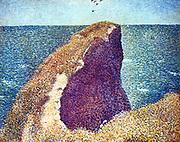 Le Bec du Hoc, Grandchamp', 1885. Oil on canvas.  Georges Seurat (1859-1891) French Post-Impressionist painter.  France Normandy Seascape Water Air Rock