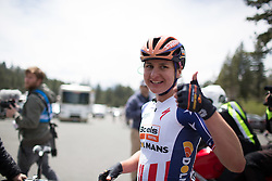 Megan Guarnier (USA) of Boels-Dolmans Cycling Team celebrates her win after the first, 117 km road race stage of the Amgen Tour of California - a stage race in California, United States on May 19, 2016 in South Lake Tahoe, CA.