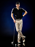 one caucasian  man golfer golfing isolated