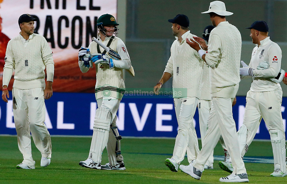 Australia's Peter Handscomb exchanges words with England players after day three of the Ashes Test match at the Adelaide Oval, Adelaide.