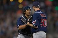 Image &copy; 2005 David Richard<br />Cleveland Indians catcher Victor Martinez with pitcher Jason Davis.