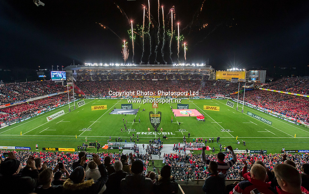 Fireworks during the 30-15 All Black win in the first test match of the DHL Lions Series 2017 played between the All Blacks and the British and Irish Lions at Eden Park, Auckland on 24th June 2017. <br /> Copyright Photo; Peter Meecham/ www.photosport.nz