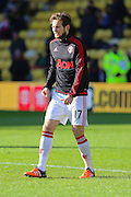 Daley Blind of Manchester United before and in the warm up the Barclays Premier League match between Watford and Manchester United at Vicarage Road, Watford, England on 21 November 2015. Photo by Phil Duncan.