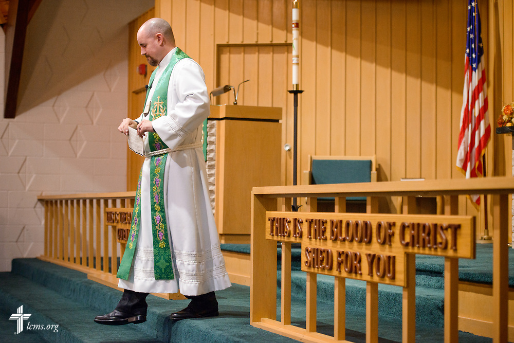 The Rev. Dr. Heath Trampe exits following the benediction on Sunday, Sept. 24, 2017, at Faith Lutheran Church, York, Neb. LCMS Communications/Erik M. Lunsford