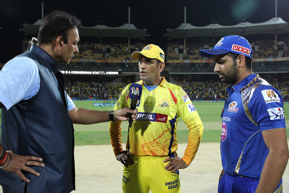 Ravi Shastri interviews Chennai Super Kings Captain MS Dhoni and Mumbai Indians captain Rohit Sharma after the toss during match 43 of the Pepsi IPL 2015 (Indian Premier League) between The Chennai Super Kings and The Mumbai Indians held at the M. A. Chidambaram Stadium, Chennai Stadium in Chennai, India on the 8th May April 2015.<br /> <br /> Photo by:  Shaun Roy / SPORTZPICS / IPL