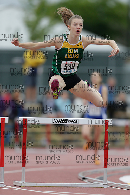 Hailey Mckechnie of Earl of March SS - Kanata competes in the intermediate hurdle heats at the 2013 OFSAA Track and Field Championship in Oshawa Ontario, Saturday,  June 8, 2013.<br /> Mundo Sport Images/ Geoff Robins