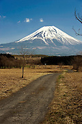 Mt Fuji is seen from a section of a walk that takes trekkers along the Asagiri Plateau in Shizuoka Prefecture Japan on 22 March 2013.  Photographer: Rob Gilhooly