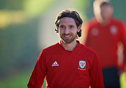 CARDIFF, WALES - Sunday, November 18, 2018: Wales' Joe Allen arrives for a training session at the Vale Resort ahead of the International Friendly match between Albania and Wales. (Pic by David Rawcliffe/Propaganda)