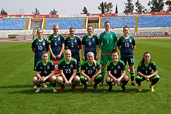 LARNACA, CYPRUS - Monday, March 5, 2018: Wales' players line-up for a team group photograph before the Cyprus Women's Cup Group A match between Switzerland and Wales on day seven of the Cyprus Cup tournament at the GSZ Stadium Stadium. Back row L-R: Jessica Fishlock, captain Sophie Ingle, Loren Dykes, Kayleigh Green, goalkeeper Laura O'Sullivan, Rachel Rowe. Front row L-R: Alice Griffiths, Elise Hughes, Charlie Estcourt, Angharad James, Natasha Harding. (Pic by David Rawcliffe/Propaganda)