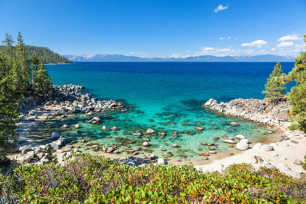 """Secret Cove, Lake Tahoe 3"" - Photograph of boulders, shoreline, and the aqua blue waters of Lake Tahoe at Secret Cove."