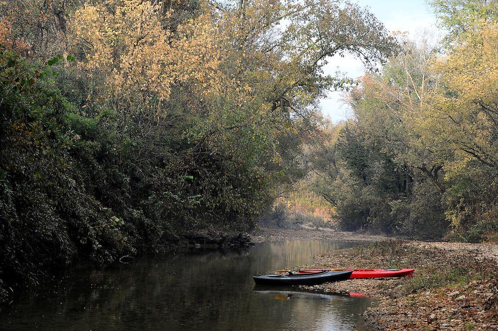 Tomahawk Creek and kayaks, Buffalo National River, Arkansas.