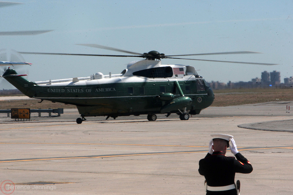 29 March 2011-Queens, New York-  U.S. President Barack Obama departs JFK on Marine One at JFK Airport for new UN Building dedication ceremony for the late U.S. Commerce Secretary Ron Brown and Democratic Fundraisers in Harlem, NYC. Photo Credit: Terrence Jennings