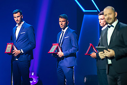 Amir Dervisevic of NK Maribor with reward for best defensive mid fielder and Jan Mlakar of NK Maribor with reward for best striker in Prva Liga Telekom Slovenije 2018/19 during SPINS XI Nogometna Gala 2019 event when presented best football players of Prva liga Telekom Slovenije in season 2018/19, on May 19, 2019 in Slovene National Theatre Opera and Ballet Ljubljana, Slovenia. Photo by Grega Valancic / Sportida.com