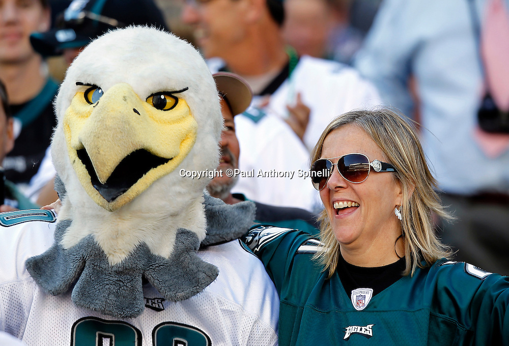 A fan has some fun with the Philadelphia Eagles mascot during the NFL week 6 football game against the Atlanta Falcons on Sunday, October 17, 2010 in Philadelphia, Pennsylvania. The Eagles won the game 31-17. (©Paul Anthony Spinelli)