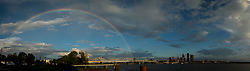 Rainbow over downtown Louisville, Friday, June 22, 2018  at  in .