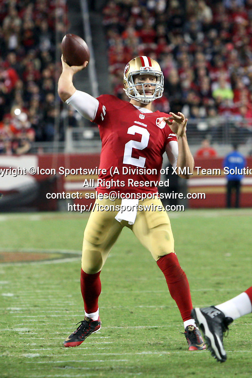 September 12 2016: Quarterback Blaine Gabbert of the San Francisco 49ers during a 28-0 victory over the Los Angeles Rams at Levi's Stadium in Santa Clara, CA (Photo by Rob Holt/Icon Sportswire)