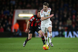 Michael Carrick of Manchester United under pressure from Dan Gosling of Bournemouth - Mandatory by-line: Jason Brown/JMP - Mobile 07966 386802 12/12/2015 - SPORT - FOOTBALL - Bournemouth, Vitality Stadium - AFC Bournemouth v Manchester United - Barclays Premier League