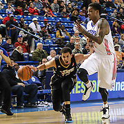 Erie BayHawks Guard Seth Curry (12) attempts to drive past Delaware 87ers Guard Jamal Jones (22) in the second half of a NBA D-league regular season basketball game between the Delaware 87ers and the Erie BayHawk (Orlando magic) Friday, Jan. 02, 2015 at The Bob Carpenter Sports Convocation Center in Newark, DEL
