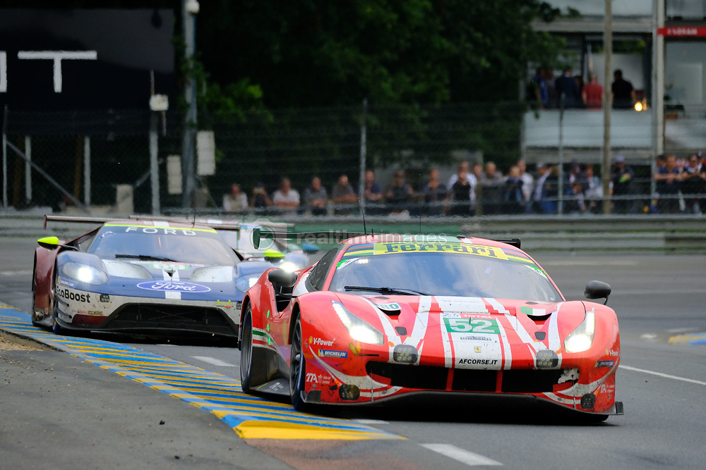 June 17, 2018 - Le Mans, Sarthe, France - AF Corse FERRARI 488 GTE EVO Driver ANTONIO GIOVINAZZI (ITA) in action during the 86th edition of the 24 hours of Le Mans 2nd round of the FIA World Endurance Championship at the Sarthe circuit at Le Mans - France (Credit Image: © Pierre Stevenin via ZUMA Wire)