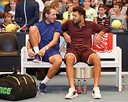 LUCAS POUILLE und JO-WILFRIED TSONGA sitzen auf der Bank und warten auf die Siegerehrung<br /> <br /> Tennis - ERSTE BANK OPEN 2017 - ATP 500 -  Stadthalle - Wien -  - Oesterreich  - 29 October 2017. <br /> &copy; Juergen Hasenkopf