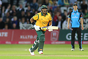 Samit Patel of Nottinghamshire Outlaws watches as he is caught during the Vitality T20 Blast North Group match between Nottinghamshire County Cricket Club and Worcestershire County Cricket Club at Trent Bridge, West Bridgford, United Kingdon on 18 July 2019.