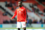 Liverpool forward Sheyi Ojo warming up before the Barclays Premier League match between Bournemouth and Liverpool at the Goldsands Stadium, Bournemouth, England on 17 April 2016. Photo by Graham Hunt.