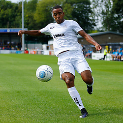 Dovers defender Kevin Lokko keeps the ball in play during the opening National League match between Dover Athletic and Wrexham FC at Crabble Stadium, Kent on 04 August 2018. Photo by Matt Bristow.