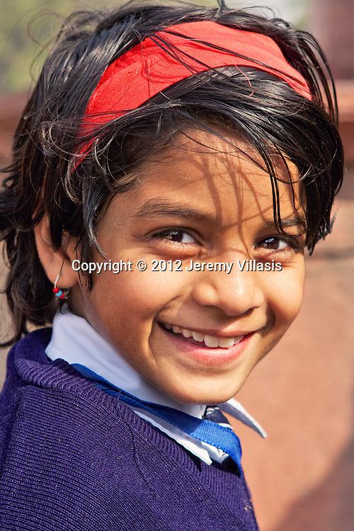 Portrait of a school girl in Humayun's Tomb. New Delhi, India.