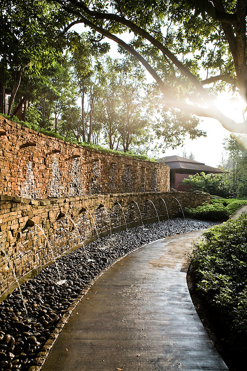 Garden path with water wall.