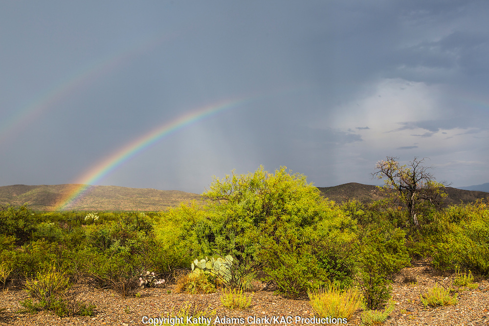 Double rainbow after thunderstorm at Dugout Wells in Big Bend National Park, Texas in late summer.