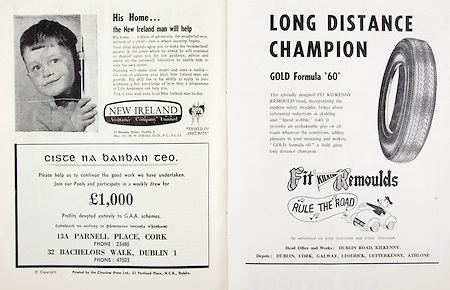 All Ireland Senior Hurling Championship Final,.05.09.1965, 09.05.1965, 5th September 1965,.Minor Dublin v Limerick, .Senior Wexford v Tipperary, Tipperary 2-16 Wexford, ..New Ireland Assurance Company, .12 Dawson Street Dublin 2, ..13A Parnell place Cork, .32 Bachelors walk Dublin 1, ...Long distance champion, .Dublin Road, Kilkenny, Dublin, Cork, Galway, Limerick, Letterkenny, Athlone,