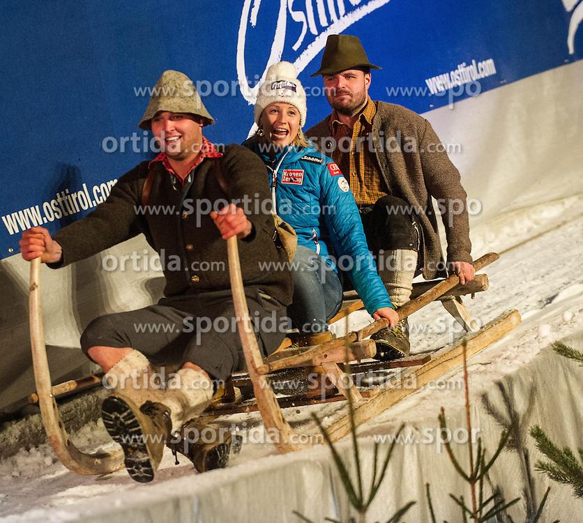 28.12.2013, Hauptplatz, Lienz, AUT, FIS Weltcup Ski Alpin, Lienz, Damen, Siegerehrung Riesentorlauf mit anschließender Auslosung der Startnummern fuer Slalom, im Bild Michael Kirchgasser (AUT) // during the victory ceremony of the giant slalom and the bip draw for slalom, Lienz FIS Ski Alpine World Cup at Hautpplatz in Lienz, Austria on 2013/12/28, EXPA Pictures © 2013 PhotoCredit: EXPA/ Michael Gruber