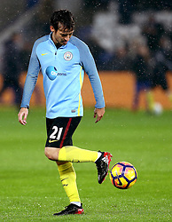 David Silva of Manchester City warms up in the rain - Mandatory by-line: Robbie Stephenson/JMP - 10/12/2016 - FOOTBALL - King Power Stadium - Leicester, England - Leicester City v Manchester City - Premier League