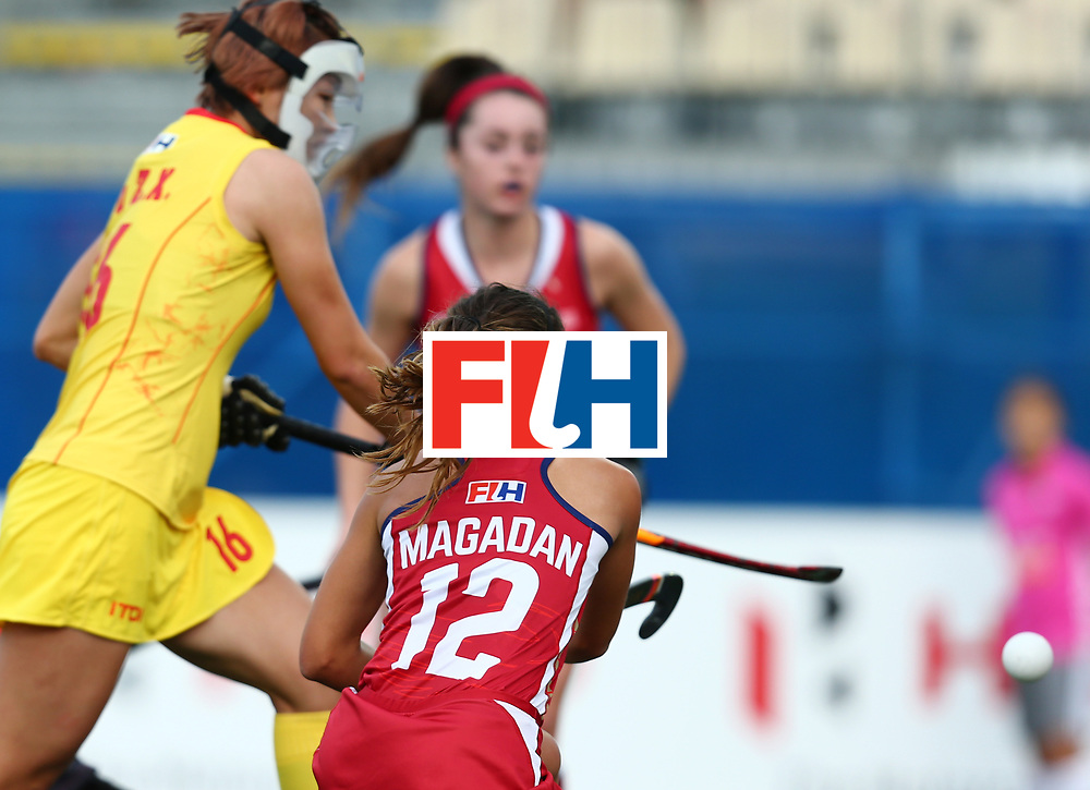 New Zealand, Auckland - 25/11/17  <br /> Sentinel Homes Women&rsquo;s Hockey World League Final<br /> Harbour Hockey Stadium<br /> Copyrigth: Worldsportpics, Rodrigo Jaramillo<br /> Match ID: 10309 - USA vs CHN<br /> Photo: (12) MAGADAN Amanda fitghting<br />  against (16) OU Zixia&nbsp;(C)