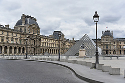 Louvre Pyramid on the 43rd day of lockdown to prevent the spread of Covid-19. Paris, France on April 28, 2020. Photo by Vincent Gramain/ABACAPRESS.COM