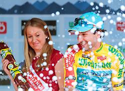 02.07.2017, Graz, AUT, Ö-Tour, Österreich Radrundfahrt 2017, 1. Etappe, Prolog, Siegerehrung, im Bild Träger des gelben Trikots Oscar Gatto (ITA, Astana Pro Team) // Yellow jerseys Oscar Gatto (ITA, Astana Pro Team) on podium on Podium during award ceremony for the Stage 1, Prolog of 2017 Tour of Austria. Graz, Austria on 2017/07/02. EXPA Pictures © 2017, PhotoCredit: EXPA/ JFK