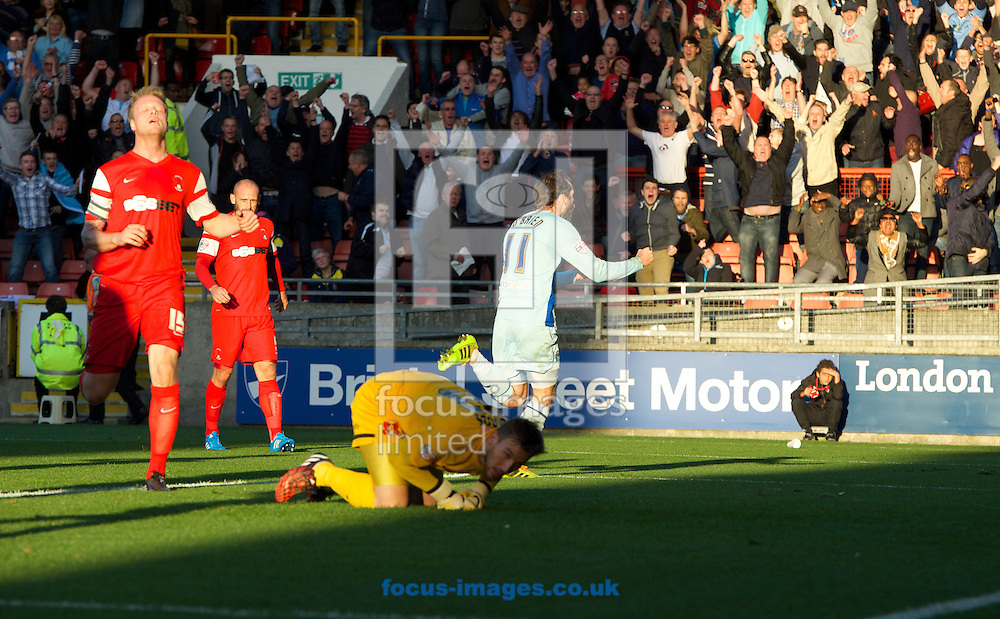 Jim O'Brien (11) of Coventry City celebrates after scoring the opening goal while Nathan Clarke (15) of Leyton Orient looks to the sky during the Sky Bet League 1 match at the Matchroom Stadium, London<br /> Picture by Alan Stanford/Focus Images Ltd +44 7915 056117<br /> 01/11/2014