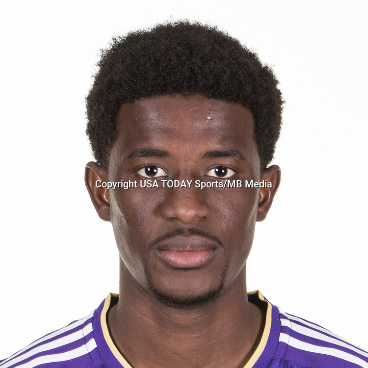 Feb 25, 2016; USA; Orlando City SC player Hadji Barry poses for a photo. Mandatory Credit: USA TODAY Sports
