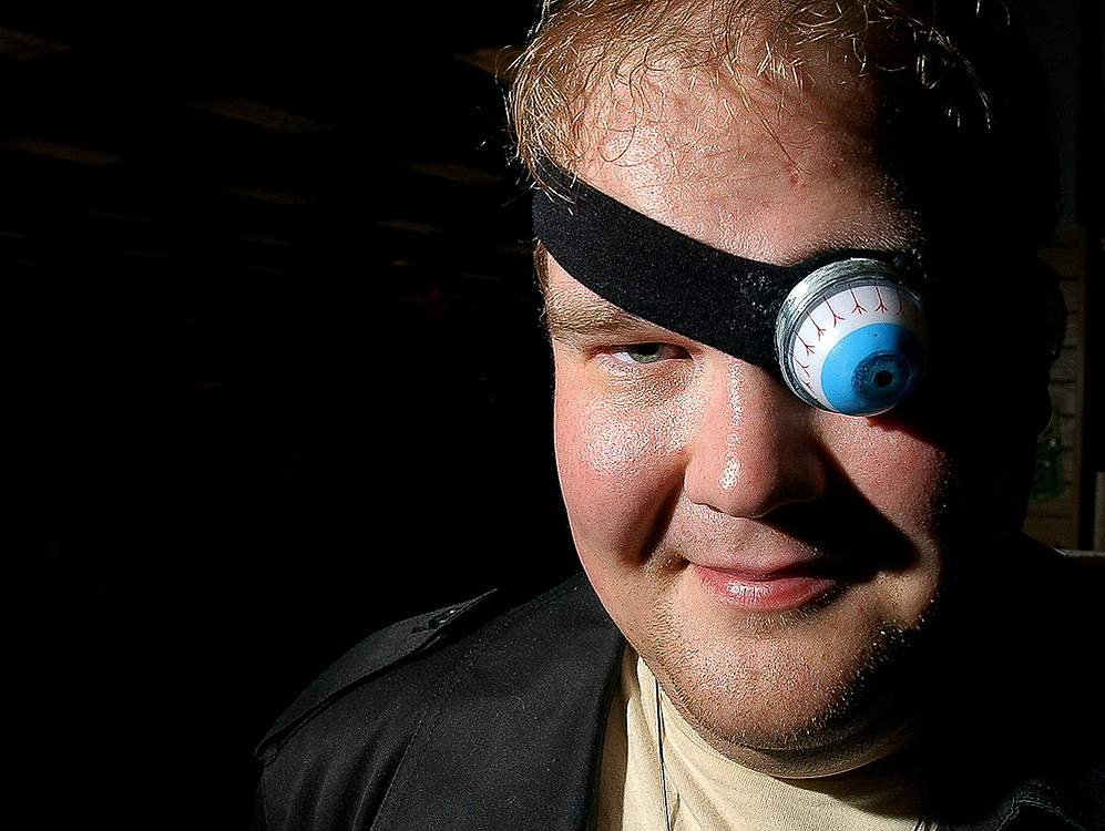 "Dressed as the character Alistor ""Mad-Eye"" Moody, Todd Ellis, 28, poses for a portrait at Border's Books and Music, 1101 South Hover Road, during a release party for J.K. Rowling's ""Harry Potter and the Deathly Hallows"", July 20, 2007.  The seventh and final installment of the popular book series went on sale at midnight.  (Daily Times-Call, Bradley Wakoff)"