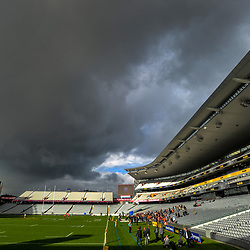 A general view as clouds gather during the 2017 DHL Lions Series NZ All Blacks captain's run at Eden Park in Auckland, New Zealand on Friday, 7 July 2017. Photo: Dave Lintott / lintottphoto.co.nz