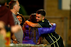 Dominic Telford of Bristol Rovers celebrates scoring his two goals with his family at full time at the game against Wycombe Wanderers - Mandatory by-line: Robbie Stephenson/JMP - 29/08/2017 - FOOTBALL - Adam's Park - High Wycombe, England - Wycombe Wanderers v Bristol Rovers - Checkatrade Trophy