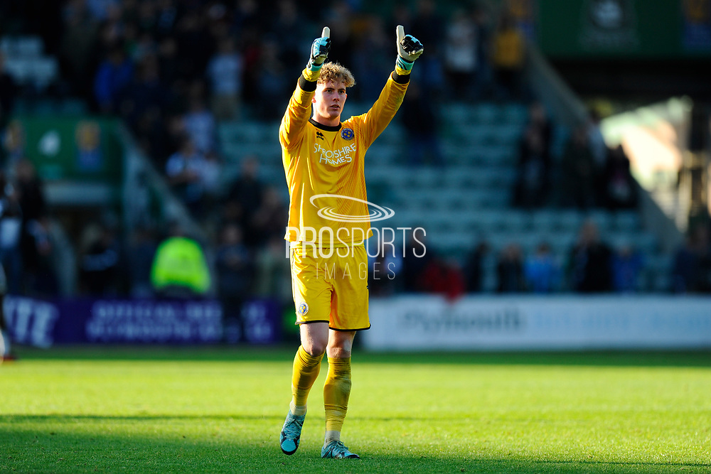 Dean Henderson (1) of Shrewsbury Town gives the thumbs up to the fans at full time after the 1-1 draw during the EFL Sky Bet League 1 match between Plymouth Argyle and Shrewsbury Town at Home Park, Plymouth, England on 14 October 2017. Photo by Graham Hunt.